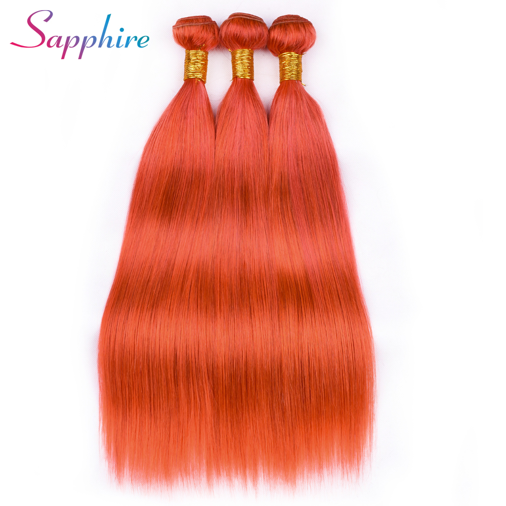 SAPPHIRE Pre-Colored Orange Straight Hair Bundles Brazilian 3 Bundles 8-28inch Human Hair Weave Remy Blue Hair Free Shipping