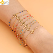 CSJA Tree of Life Gold-color Stainless Steel Bracelets Bangles Women Delica Beads Link Chain 2019 Designer Luxury Bracelet S418