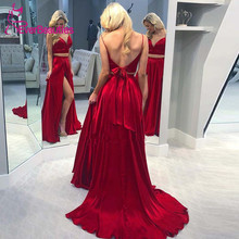 Wine Red Evening Dress Long 2020 Formal Dress Women Side Slit Party Dresses Two Pieces Evening Gown Robe De Soiree