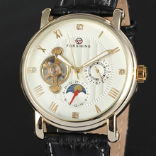 Men s Fashion Mechanical Wrist Watch Decoration Sub Dials Roman Numbers Tourbillon Design White Round Dial