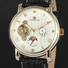 Мужская Мода Механические Наручные Часы Украшения Суб-Римскими Цифрами Tourbillon Дизайн Белый Круглый Серебряный Циферблат Кожаный Ремешок