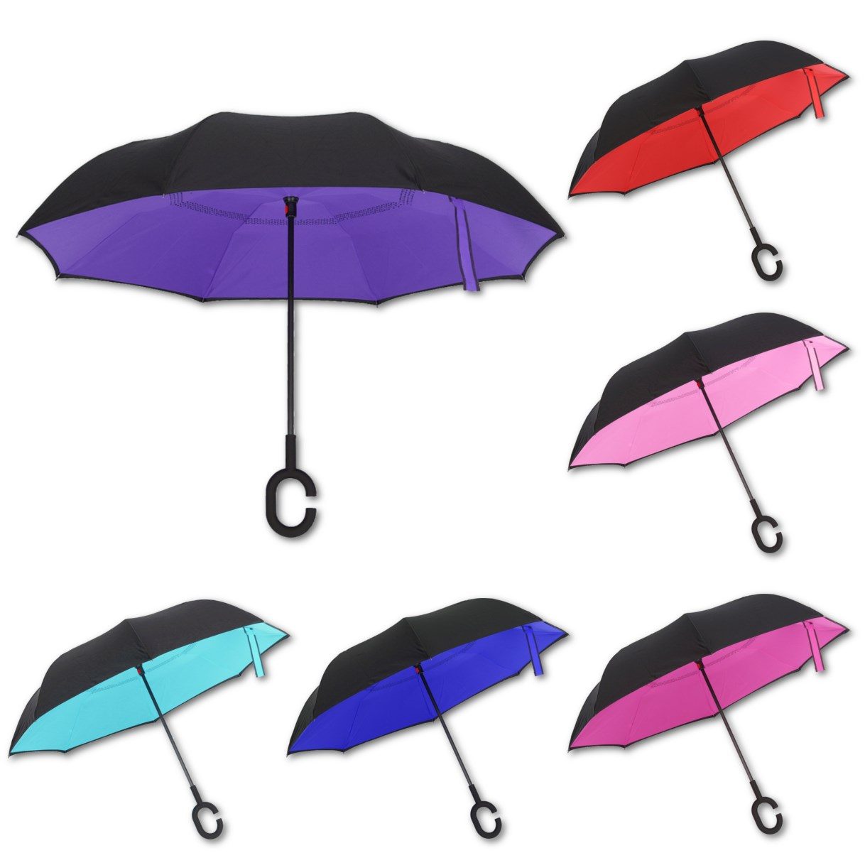 Invert color jpg online - Hand Free Reverse Umbrella Self Stand C Hook Windproof Double Layer Inverted Umbrella Six