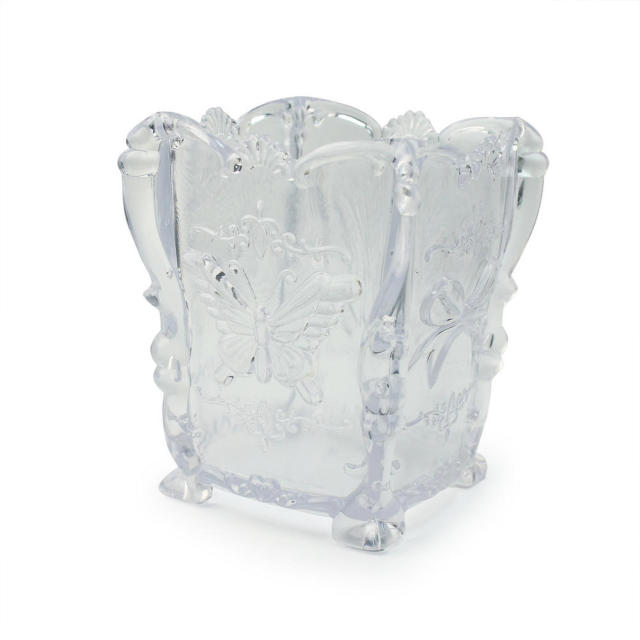Acrylic Clear Beautiful Butterfly Embossed Makeup Storage Comestic Box Case  Holder Pen Brush Container Vanity Table