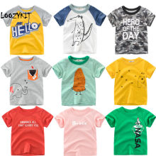 Loozykit/футболка с рисунком динозавра и машины для маленьких мальчиков; сезон осень-лето; футболки с надписью для маленьких мальчиков и девочек; хлопковые топы для малышей
