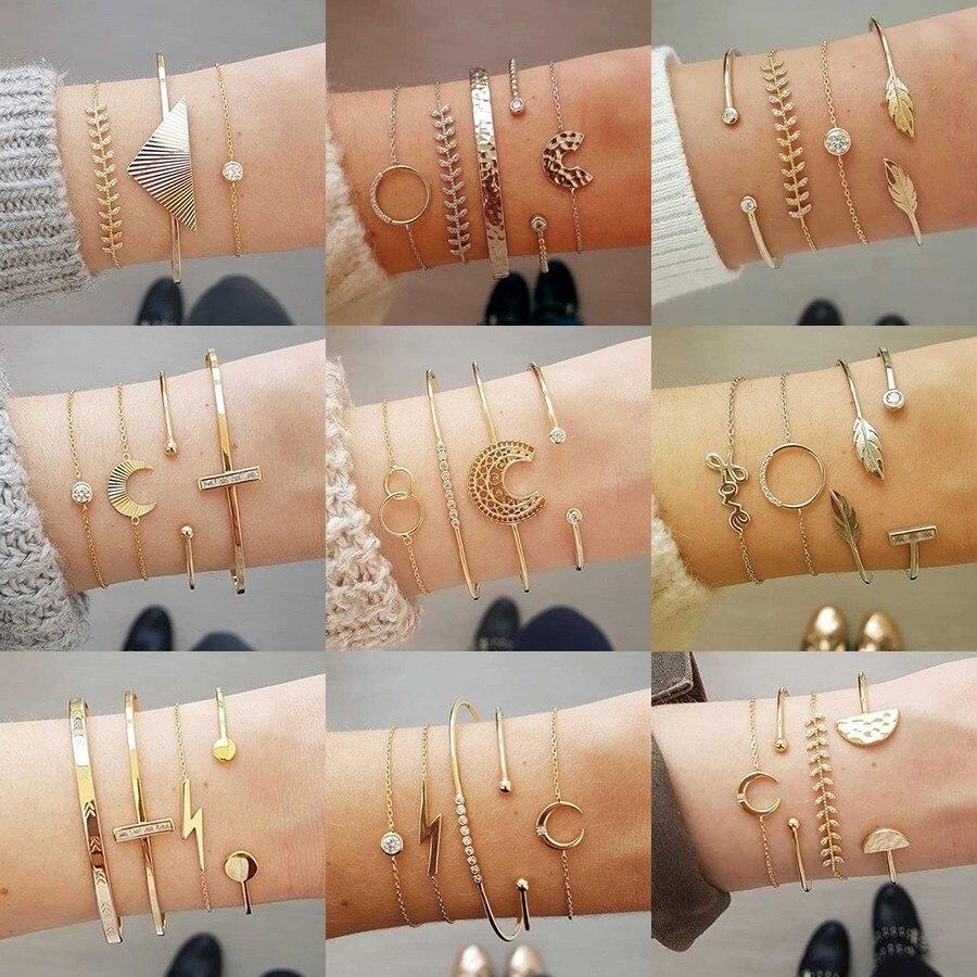 Boho Bracelets & Bracelets pour femmes mode lune feuille cristal bracelet à breloques Femme bohème chaîne Bijoux Pulseras Mujer