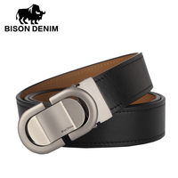 BISON DENIM Mens Top Head Layer Cowhide Belts Pure Copper Smooth Buckle