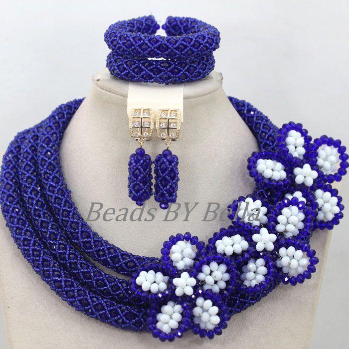 Großhandel Königsblau Kristall Handmade Nigerianische Mode Perlen Blumen Afrikanischen Schmuck Sets Halskette Kostenloser Versand ABK502 - 4