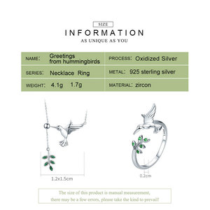 Image 3 - BISAER Jewelry Set 925 Sterling Silver Bird Hummingbirds Greeting Collar Anel Jewelry Sets For Women Fashion Earrings Jewelry