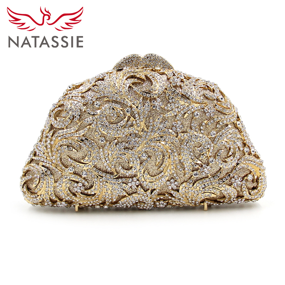 NATASSIE 2017 New Arrival Women Clutches Ladies Evening Bag Party Clutch Female Crystal Purse Wedding Bags With Chain natassie women evening bags ladies crystal wedding clutch bag female party clutches purses