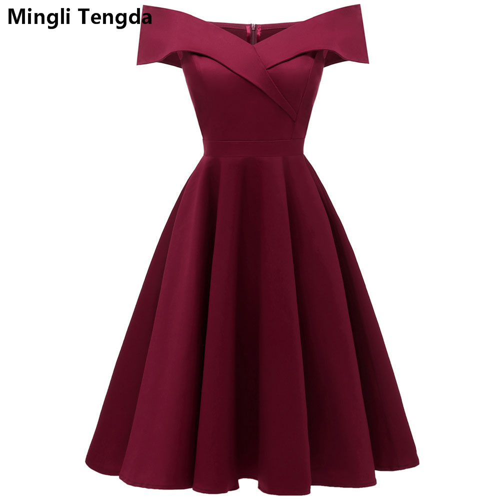 Mingli Tengda Vintage Red wine   Bridesmaid     Dress   Black Wedding Party   Dress   Elegant Boat Neck Simple   Dress   Navy   Bridesmaid     Dresses