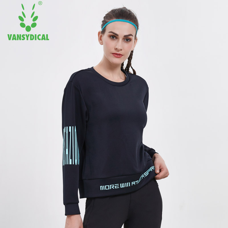Vansydical Women Long Sleeve Yoga Shirts O Neck Running Tops Breathable Fitness Excise Sweatshirts Girls Training Pullovers