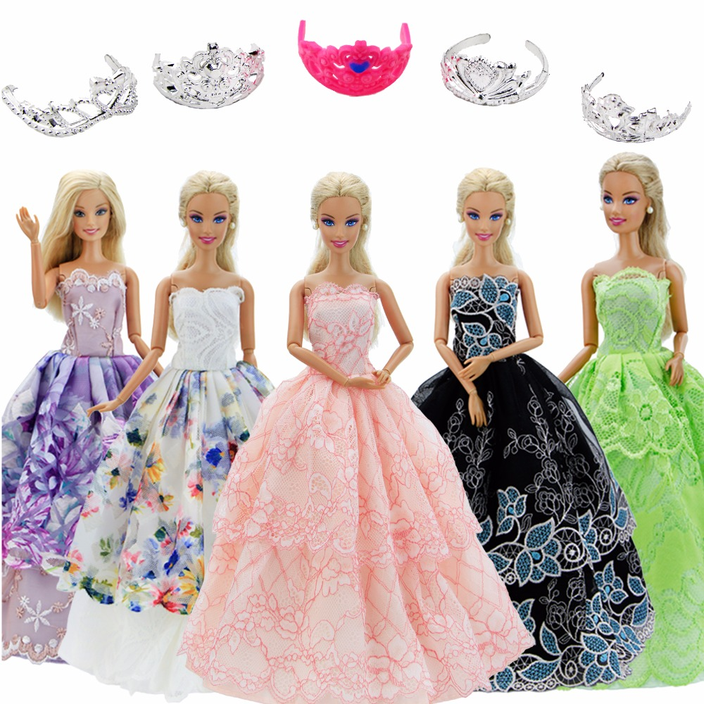 10 Pcs / Lot = Random 5x Wedding Party Gown Princess Dress + Random 5x Mini Crowns Clothes For Barbie Doll Accessories Gift Toys display holder dress clothes gown mannequin model stand for barbie doll accessories girls play toy early educational toys gift