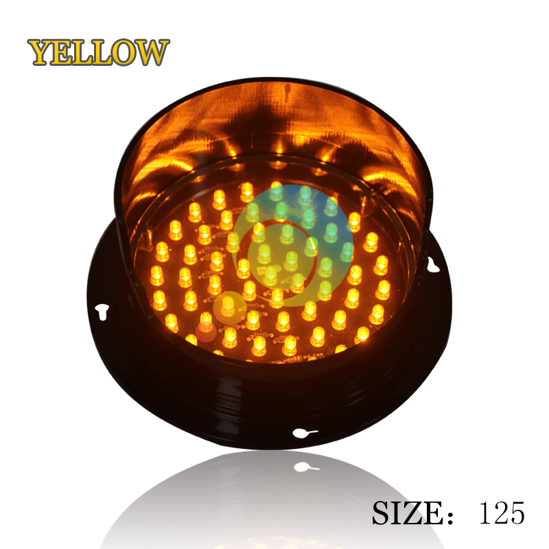 DC 12V Yellow LED Traffic Lamp Customized Mould 125mm LED Traffic Signal Light Lampwick For Sale