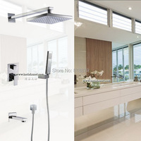 Square Wall Mounted Chrome Brass Rain Shower Mixer Bathroom Bath Bathtub Faucet Copper Concealed Faucets Control