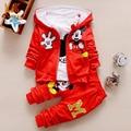 Monkids 2017 otoño invierno de manga larga traje de tres piezas de algodón que arropan la historieta del niño niños chicos ropa
