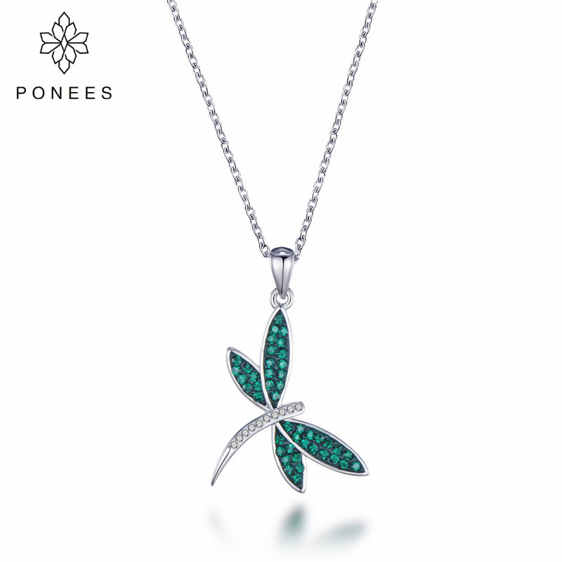 PONEES New Arrival Rhodium Pave Setting Elegant Dragonfly Pendant Necklace For Women Gift Fine Animal Necklaces
