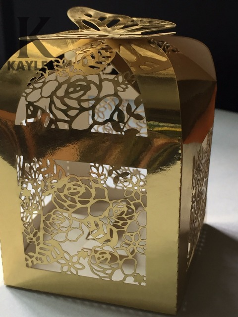50pcs Metallic Gold Chocolate Packaging Boxeslaser Cut Wedding Gift