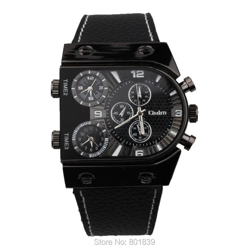 f902512530e Famoso relógio de pulso marca de Moda relógios com pulseira de Couro Oulm  Aventura Men Quartz Militar Assista Decoração Bússola Termômetro