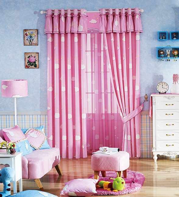 Blue sky clouds curtain bedroom living room study children shading ...