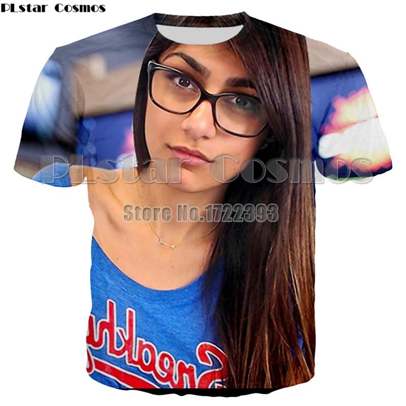 PLstar Cosmos Funny Printing Famous AV Actress Mia T-shirt Women/Men Summer Fashion Tees Virgin Mia Khalifa Top 3d Print T Shirt