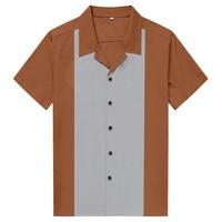 AOWOFS Vintage Men Shirts Short Sleeve Rockabilly Men Clothes 2018 Summer Cotton Punk Fashion Patchwork Men