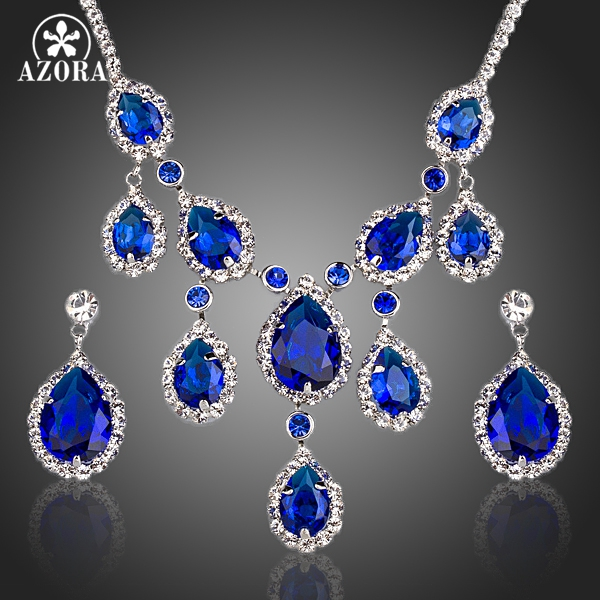 AZORA Noble Blue Cubic Zirconia Water Drop Pendant Necklace and Earrings Jewelry Sets TG0160 a suit of noble water drop hollow out necklace earrings ring and bracelet for women