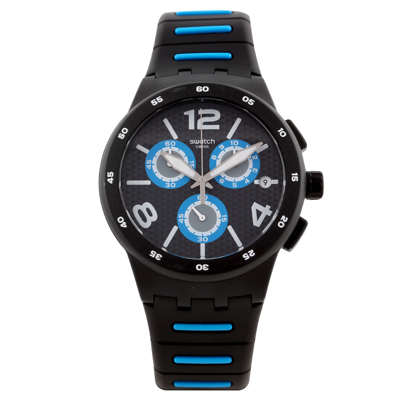 Swatch Watch New Jelly Chronograph Black Chrono Quartz Watch SUSB410 swatch swatch watch jelly timing series multi function chronograph quartz watch susb412