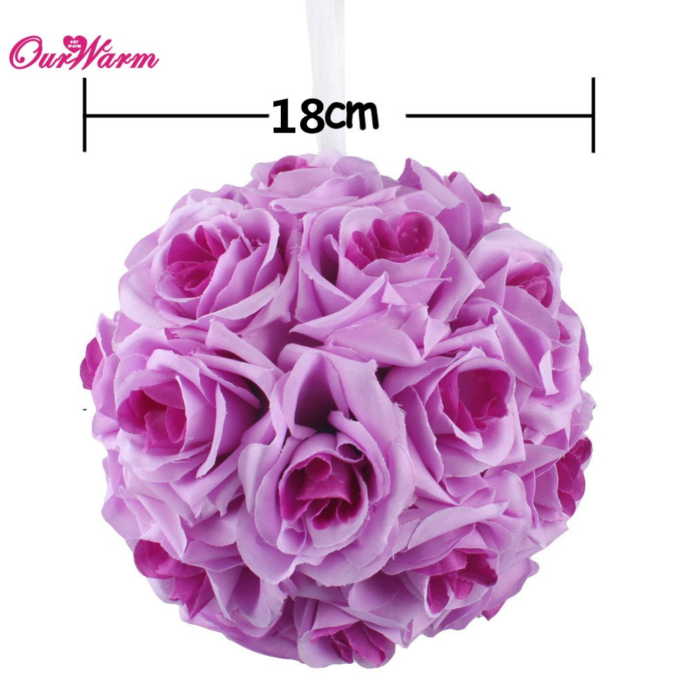18cm7in Silk Ribbon Rose Flower Ball Artificial Pomander Bouquet