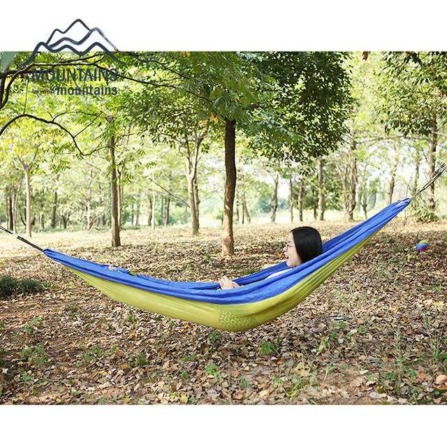 Portable Nylon Fabric Parachute Double Hammock Garden Outdoor Camping  Travel Furniture Survival Hammock Swing Sleeping Bed