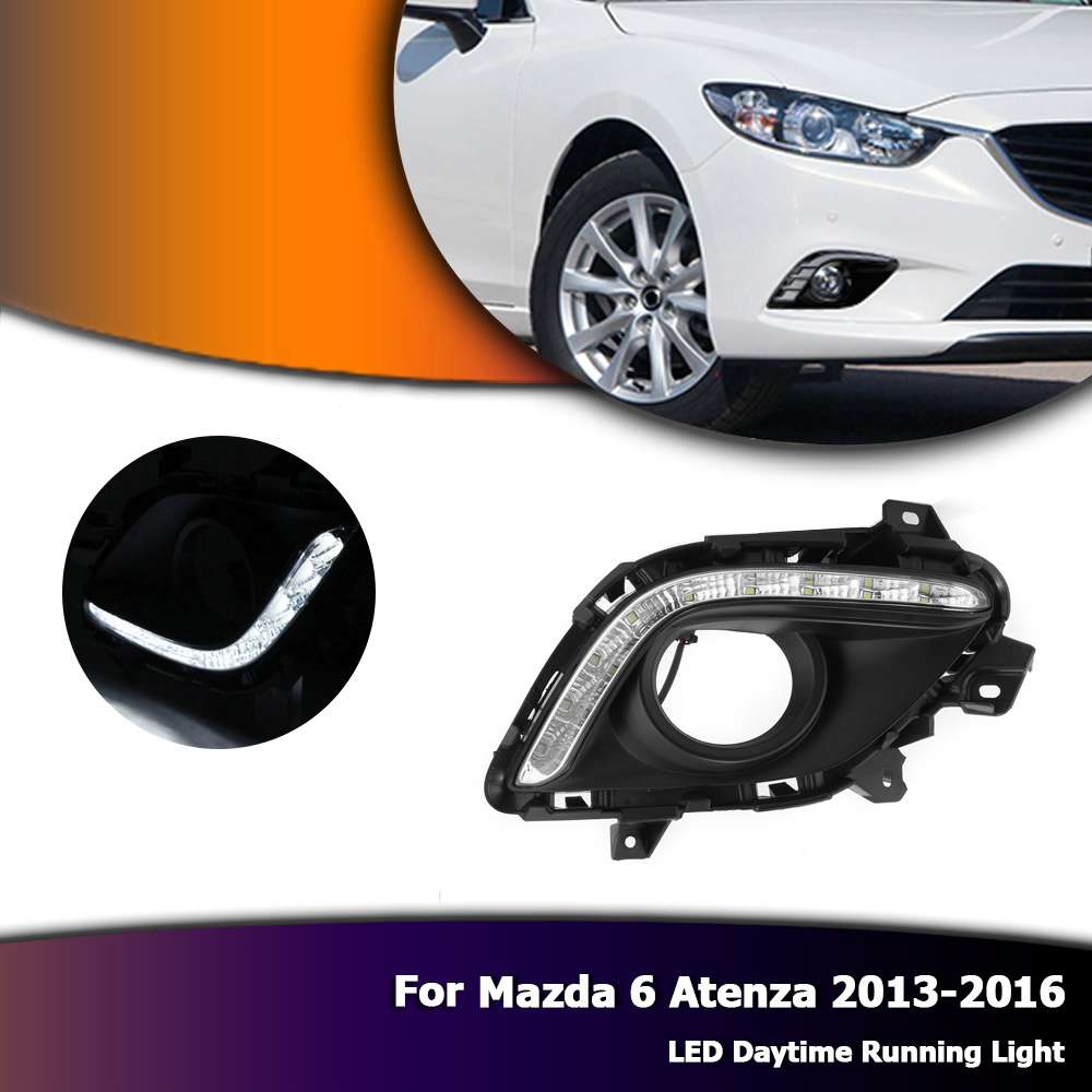 Auto White Car LED Daytime Running Light DRL Daylight Fog Lamp For Mazda 6 Atenza 2013-2016 D35 1 pair metal shell eagle eye hawkeye 6 led car white drl daytime running light driving fog daylight day safety lamp waterproof