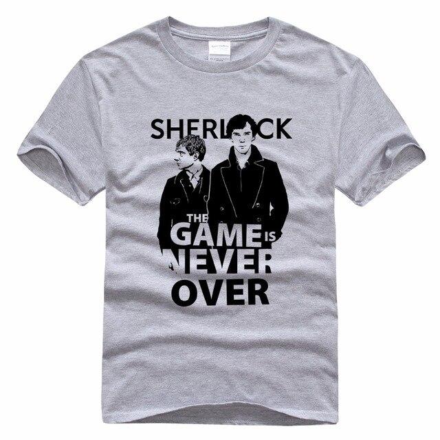 T-shirt Para O Homem do Sherlock Sherlock Sherlock Holmes John Watson Homens Camisetas Branco Cinzento Dos Desenhos Animados Dos Homens Cobre T-shirt Puro Algodão Camisas