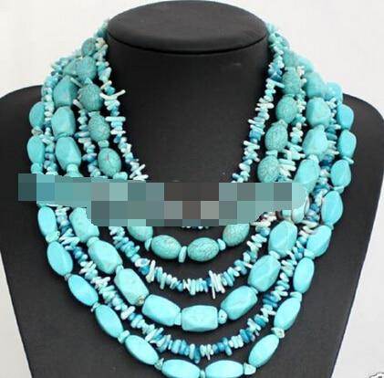 0002824 многослойные бирюзовый коралловые бусины ожерелье свадебные женские украшения