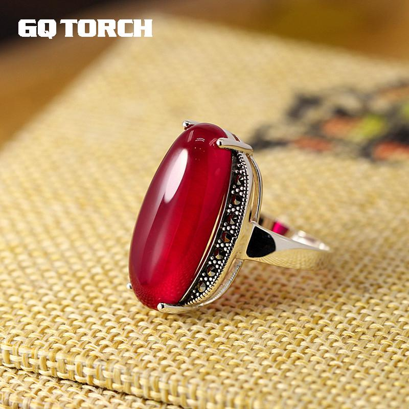 GQTORCH 925 Sterling Silver Exaggerated Green Agate Red Ruby Large Rings For Women Vintage Ring Fine Jewelry