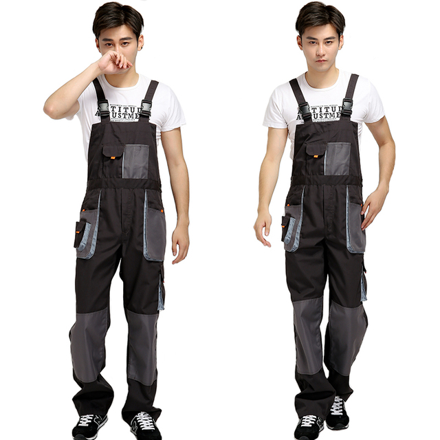 Bib overalls men work coveralls protective repairman strap jumpsuits pants working uniforms plus size sleeveless coverall 2
