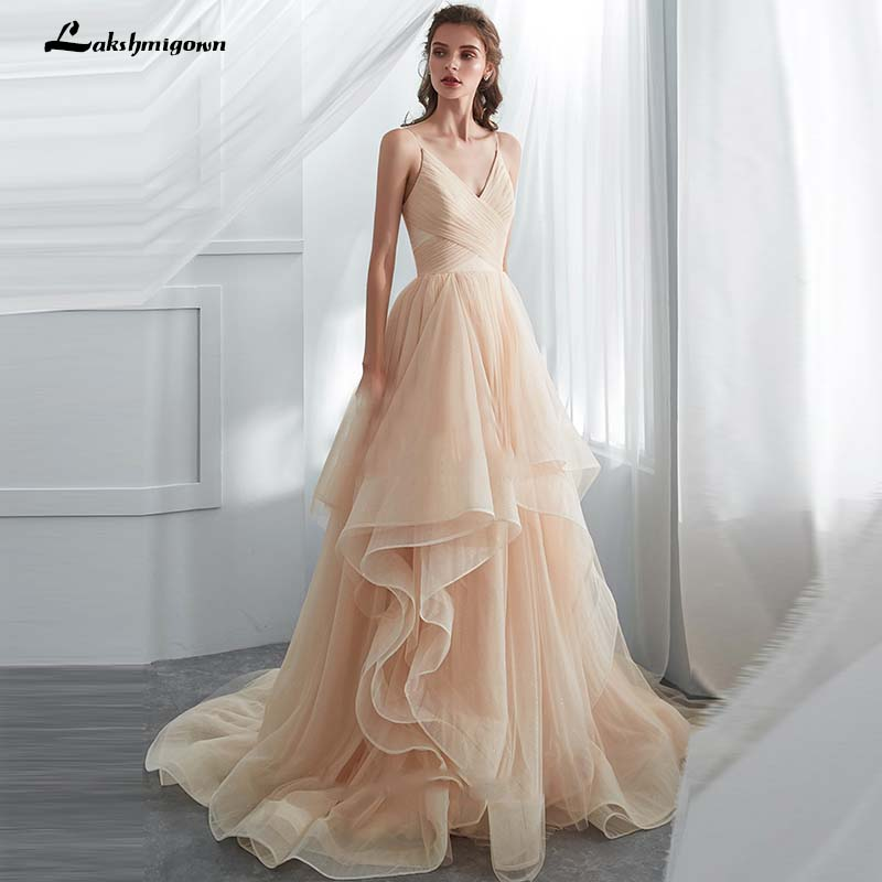 Romantic Spaghetti Straps Champagne Puffy Long Ruffled Soft Tulle Ball Gown Wedding Dress 2019 Bridal Dresses