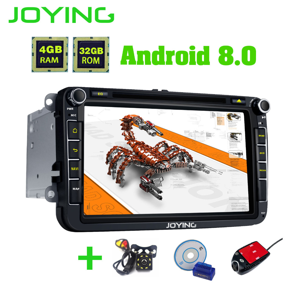 JOYING 2 Din 4GB Ram 8'' Android 8.0 Car Radio Auto GPS Stereo Specially For Volkswagen VW Passat Scirocco Polo Golf 5 6 Fabia joying 2 din android 8 0 car stereo 8 inch 4gb ram auto gps with free rear view camera bt for volkswagen vw polo passat golf 456