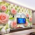 Sob encomenda da foto papel de parede rosa de couro 3d mural papel de parede para Papel De Parede da Sala de estar Fundo TV Home Decor Papel De Parede 3D