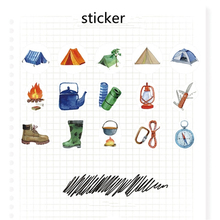 Cute Camping Tent Tool Stickers Set 45pcs/Box DIY Stationery Notebook Diary Scrapbooking Decoration Creative Label Sticker
