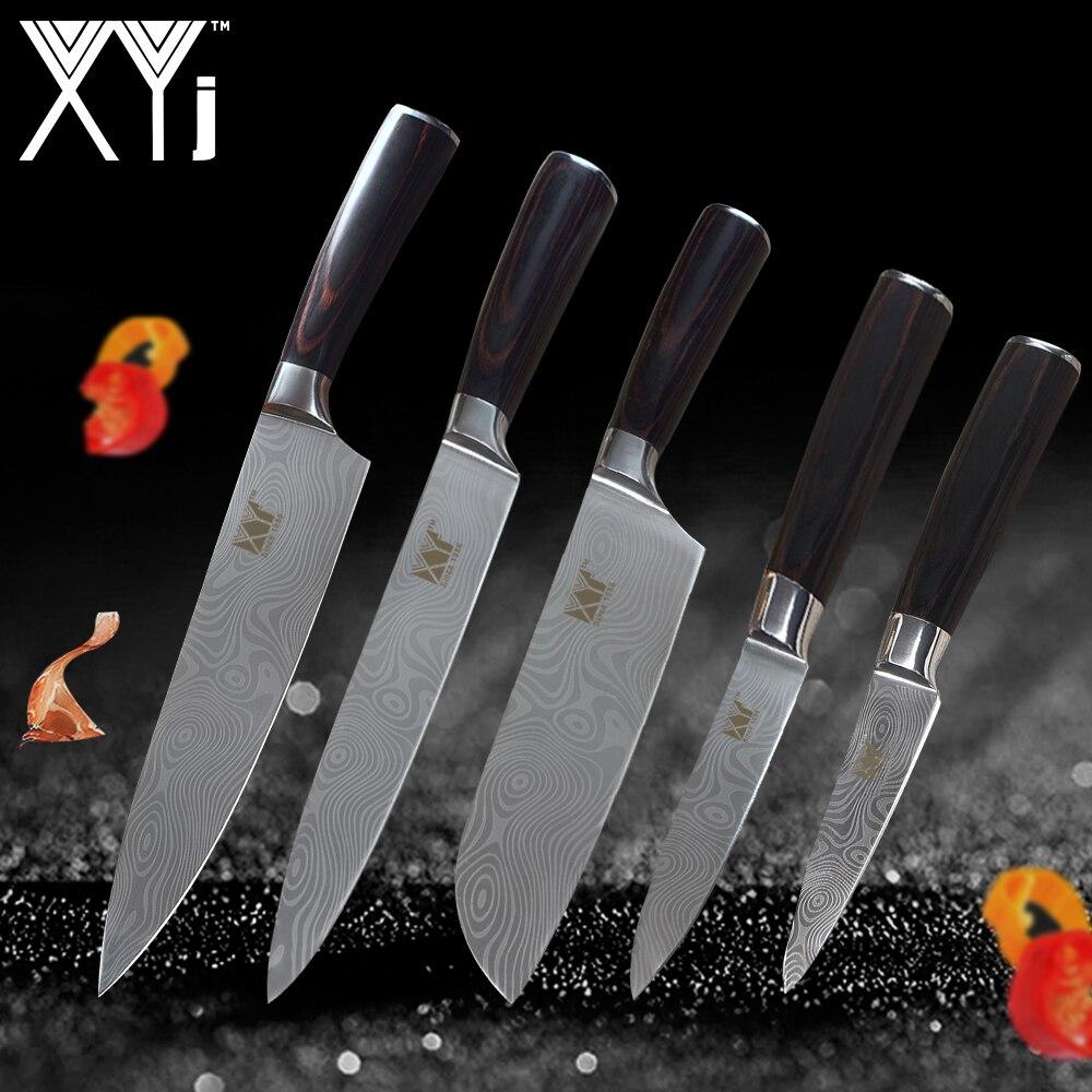 XYj Cuisine Couteaux Haute Teneur En Carbone En Acier Inoxydable 3.5, 5, 7, 2*8 pouces 5 pièces Ensemble Japonais Chef Couteau Fruits Légumes Viande Couperet