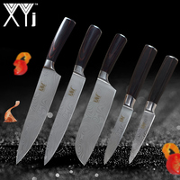 XYj Kitchen Knives High Carbon Stainless Steel 3.5, 5, 7, 2*8 inch 5 Pieces Set Japanese Chef Knife Fruit Vegetable Meat Cleaver