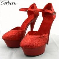 Sorbern Red Women Pumps 2018 Fashion Greit Womens Pumps Buckle Strap Plus Size 35-46 Real Image Women Shoes High Heel
