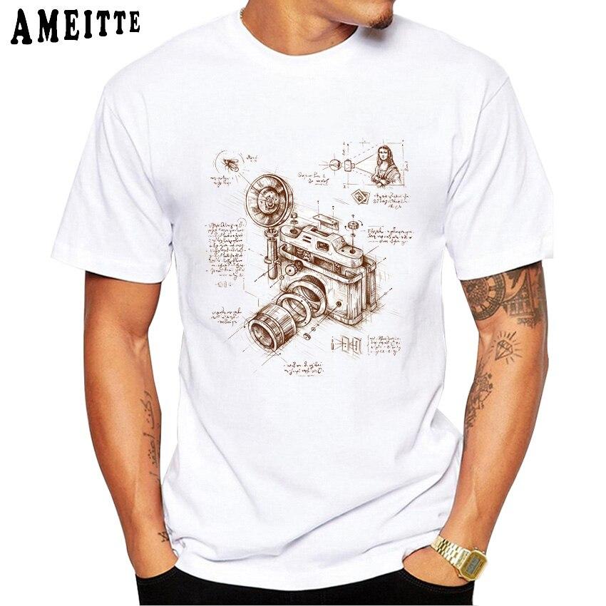 Moment Catcher Vintage Camera Anatomy Art T-Shirt Fashion Men's Short Sleeve Summer Boy Casual Tees Photography Lovers Men Tops