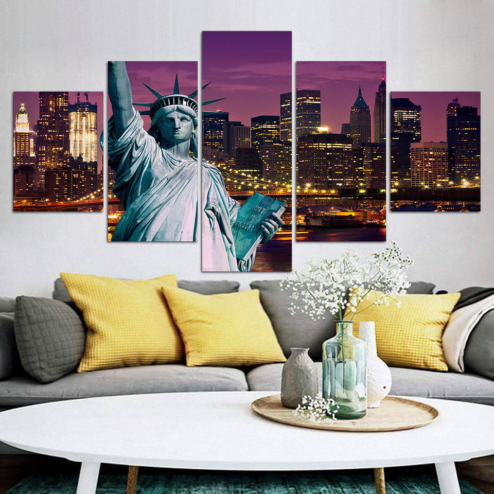 5 Piece Wall Art Poster Canvas Paintings Liberty New York City Nightscape HD Printed Painting Home Decor Posters And Prints