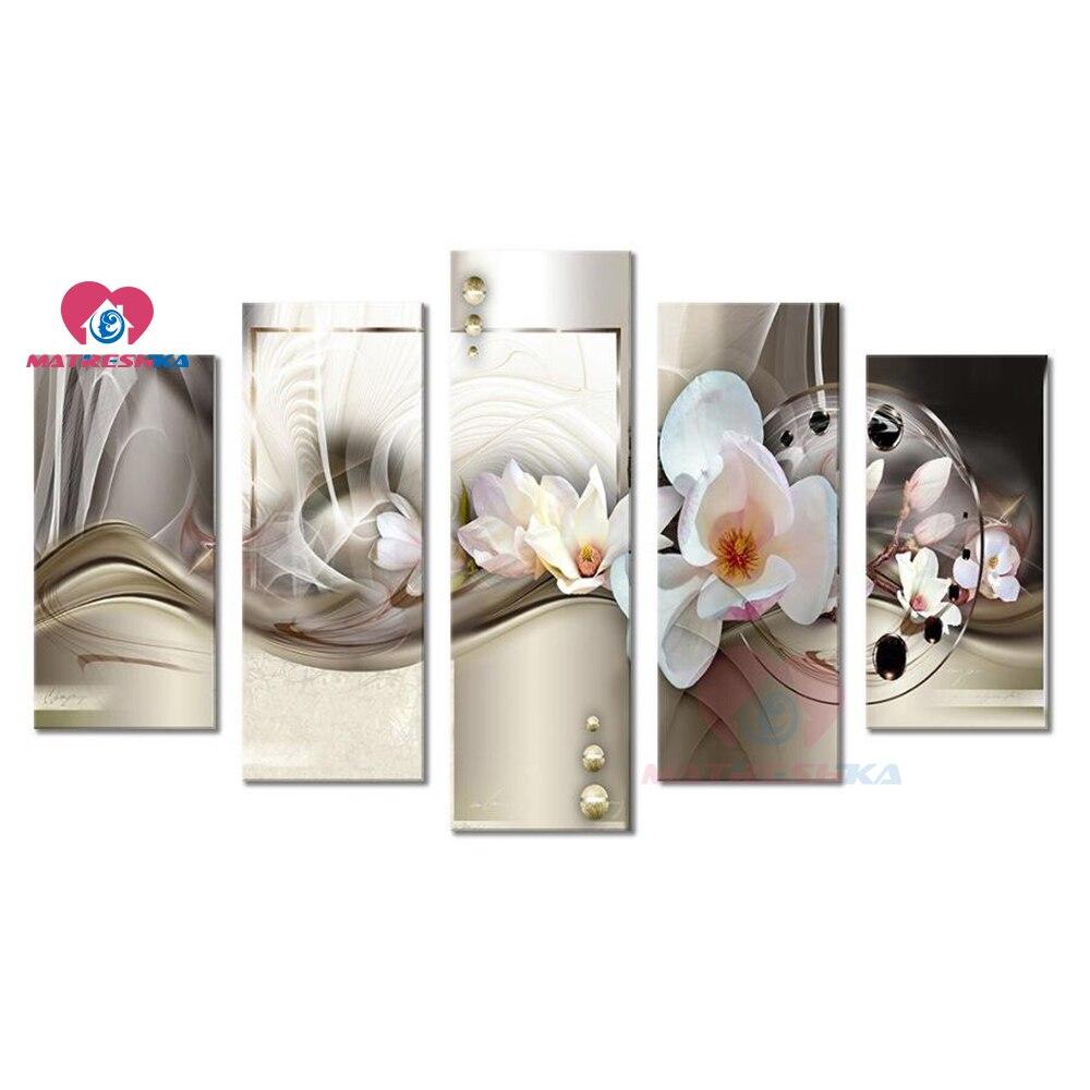 Multi-peinture 5 pièces diamant peinture accessoires point de croix 5 panneaux Stickers muraux nature morte fleur mosaïque modulaire photos