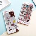 De dibujos animados frontal de cristal templado de cine para iphone 6 6 s/6 más hello kitty patrón de flores cubierta del protector de pantalla para iphone 6 s plus
