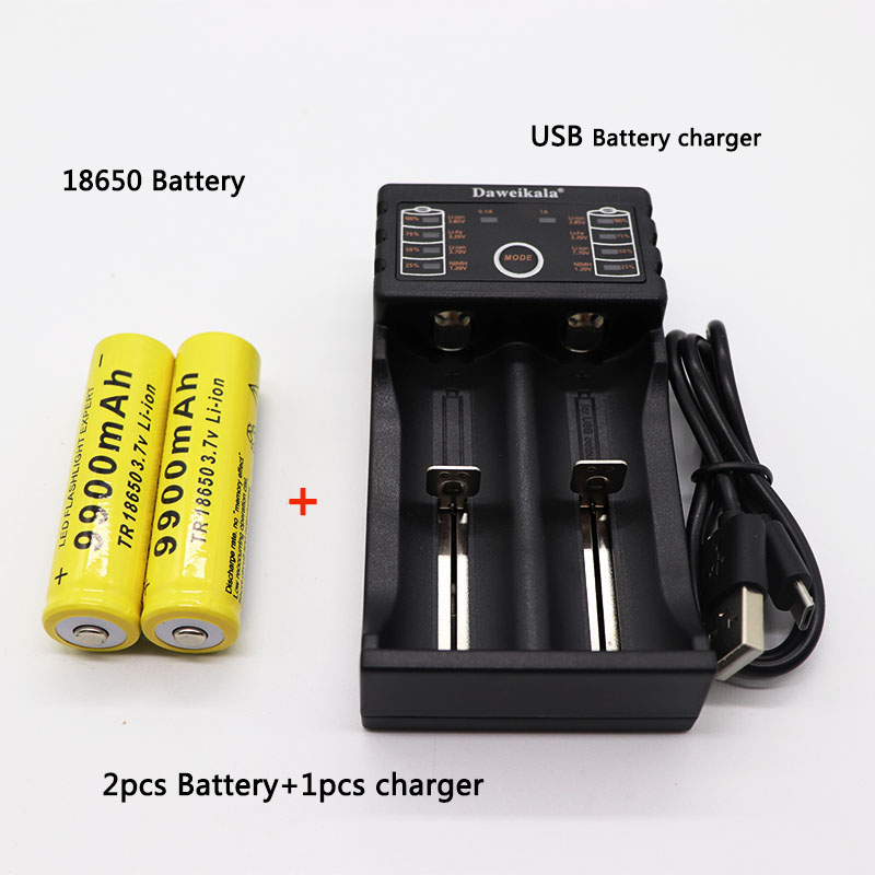 2pcs 18650 battery 3.7V 9900mAh rechargeable liion battery with charger for Led flashlight batery litio battery+1pcs Charger(China)