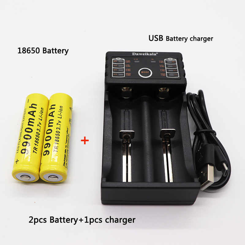 2pcs 18650 battery 3.7V 9900mAh rechargeable liion battery with charger for Led flashlight batery litio battery+1pcs Charger