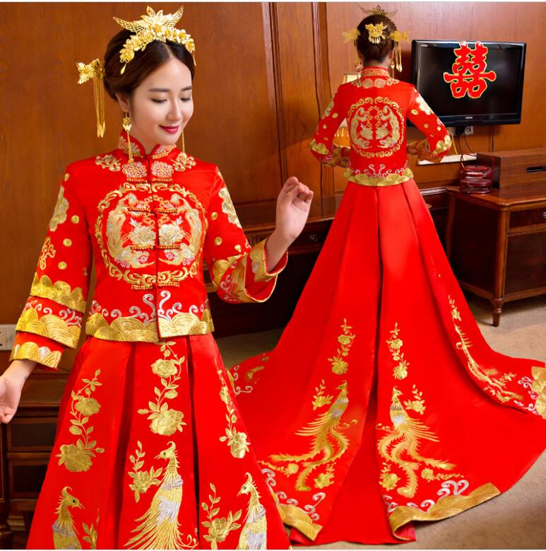 Chinois traditionnel mariage vêtements robe de couture rouge broderie phoenix robe