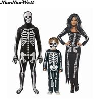 Familie Skeleton Zombie Pak Halloween Kostuum Hoge Kwaliteit Paar's Carnaval Feestdagen Jongen Scary Bloody Horror Cosplay Kostuum