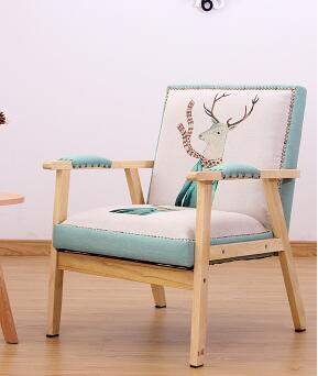 Solid wood leisure sofa chair. Single sofa. Personality sofa. nordic small unit single fabric sofa chair cafe bedroom casual solid wood chair